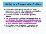 setting up a transportation problem1