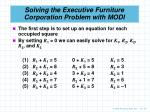 solving the executive furniture corporation problem with modi1