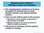 stepping stone method finding a least cost solution