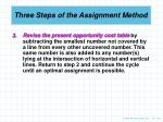 three steps of the assignment method1
