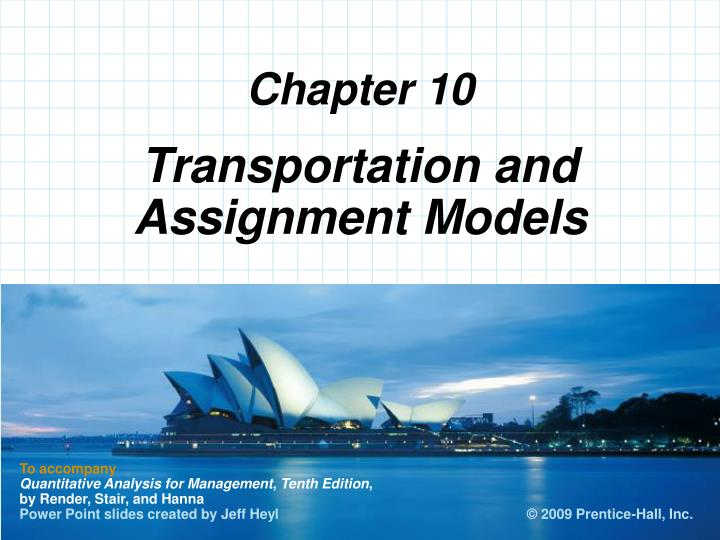 transportation and assignment models n.