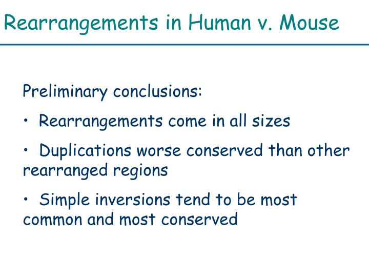 Rearrangements in Human v. Mouse