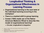 longitudinal thinking organizational effectiveness in learning process