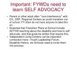 important fywds need to learn self advocacy