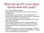 what can we do in our direct service work with youth