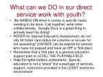 what can we do in our direct service work with youth1