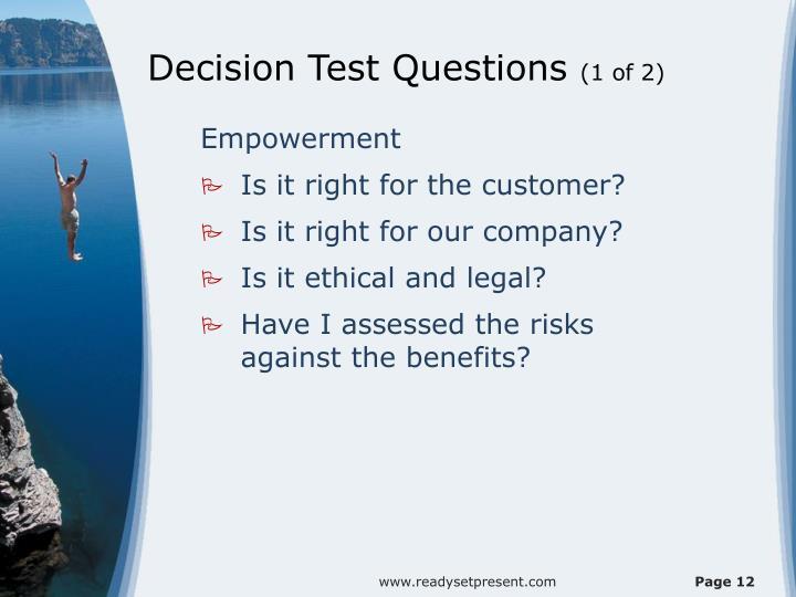 Decision Test Questions