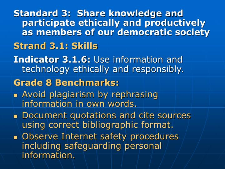 Standard 3:  Share knowledge and participate ethically and productively as members of our democratic society