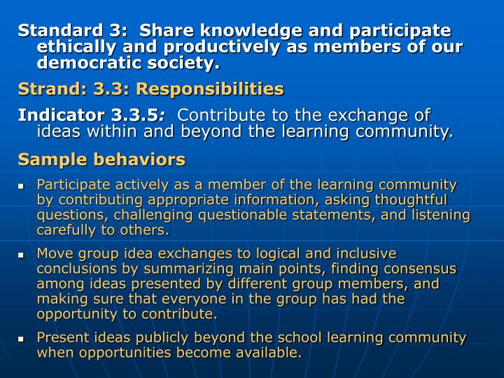 Standard 3:  Share knowledge and participate ethically and productively as members of our democratic society.