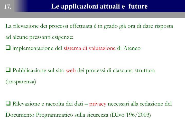 Le applicazioni attuali e  future
