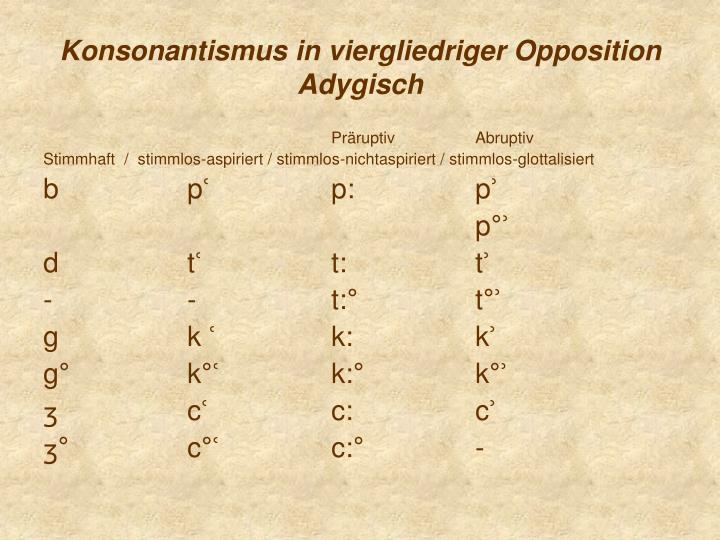 Konsonantismus in viergliedriger Opposition