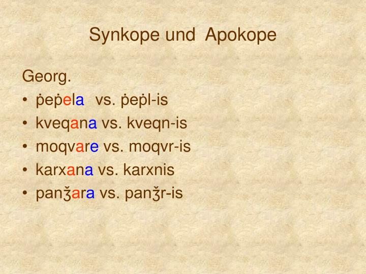 Synkope und  Apokope