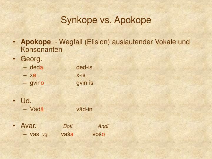 Synkope vs. Apokope
