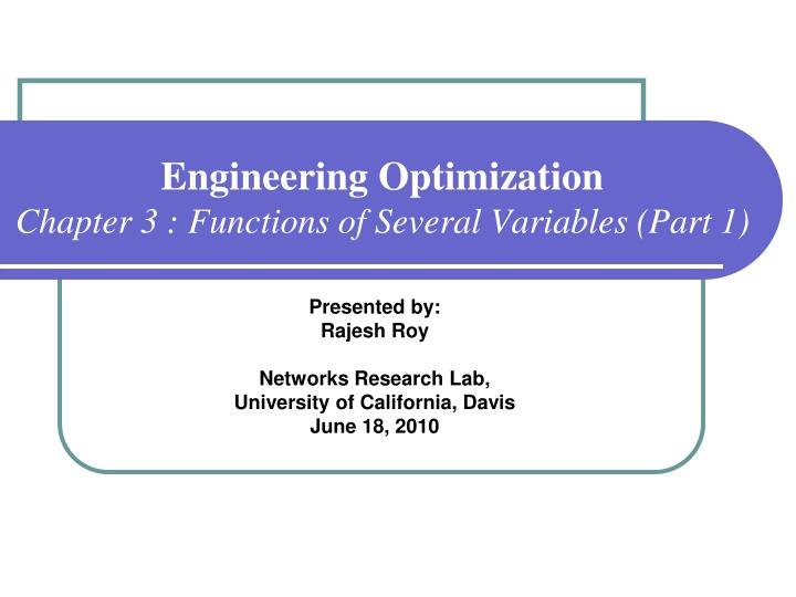 engineering optimization chapter 3 functions of several variables part 1 n.