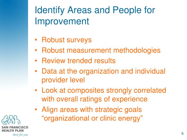 Identify Areas and People for Improvement