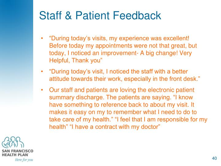 Staff & Patient Feedback