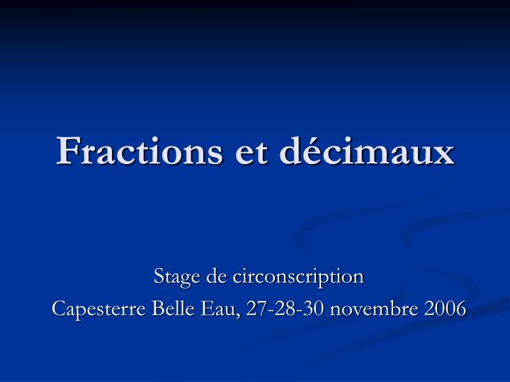 fractions et d cimaux n.