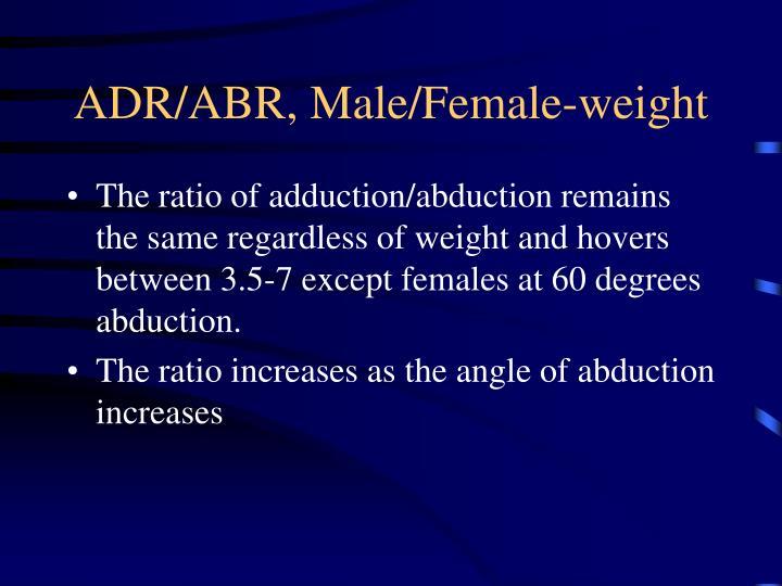 ADR/ABR, Male/Female-weight