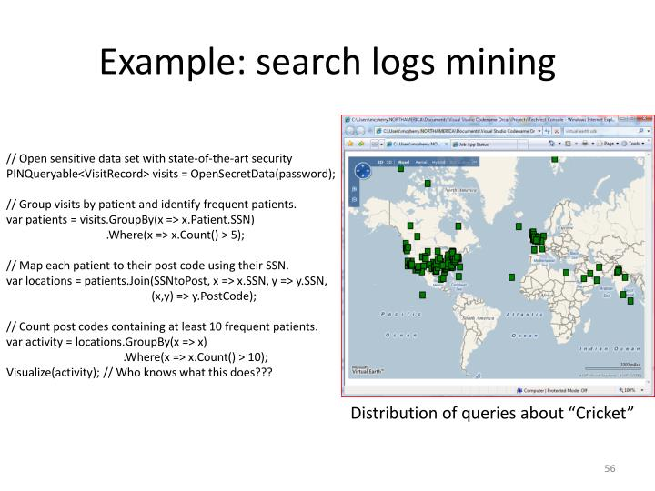 Example: search logs mining