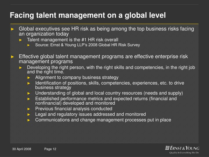 Facing talent management on a global level