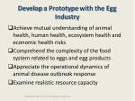 develop a prototype with the egg industry