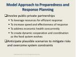 model approach to preparedness and response planning