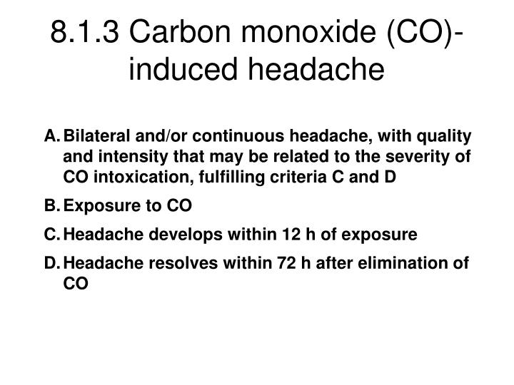 8.1.3 Carbon monoxide (CO)-induced headache
