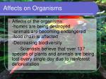 affects on organisms