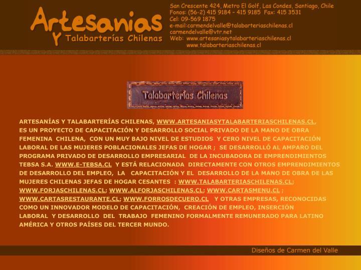 ARTESANÍAS Y TALABARTERÍAS CHILENAS,