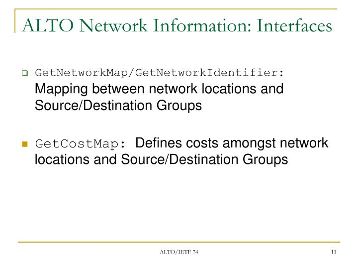 ALTO Network Information: Interfaces