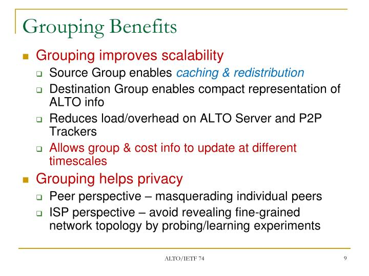 Grouping Benefits