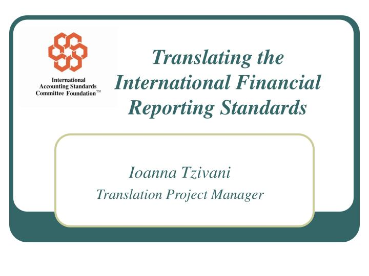 translating the international financial reporting standards n.