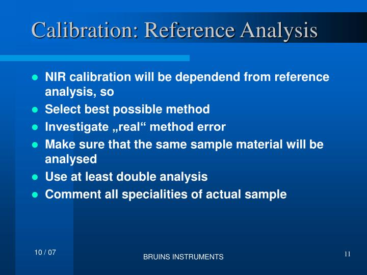 Calibration: Reference Analysis