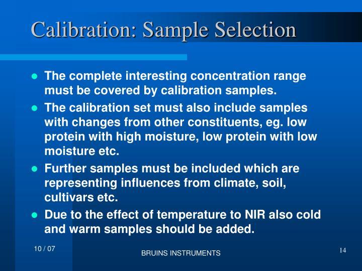 Calibration: Sample Selection