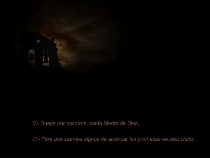 V.- Ruega por nosotros, santa Madre de Dios.
