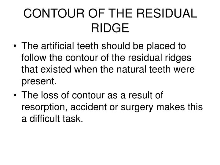 CONTOUR OF THE RESIDUAL RIDGE