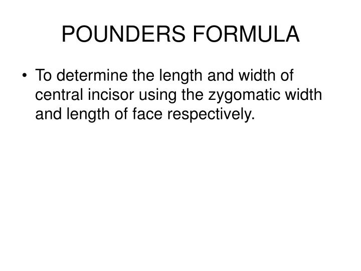 POUNDERS FORMULA