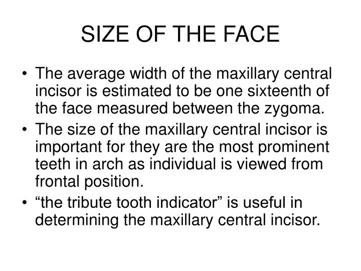 Size of the face