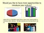 would you like to have more opportunities to introduce your culture