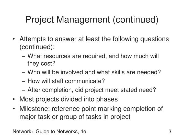 Project management continued