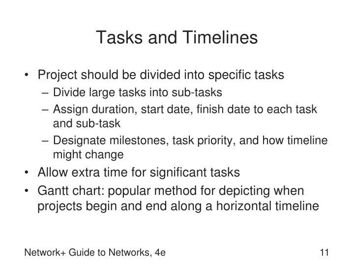 Tasks and Timelines
