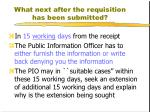 what next after the requisition has been submitted