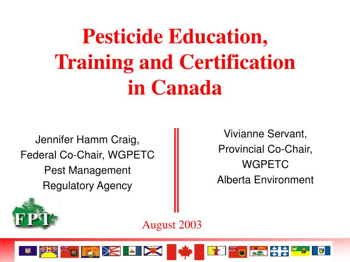 pesticide education training and certification in canada n.