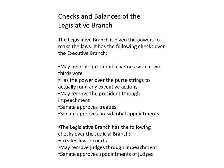 Checks and Balances of the Legislative Branch