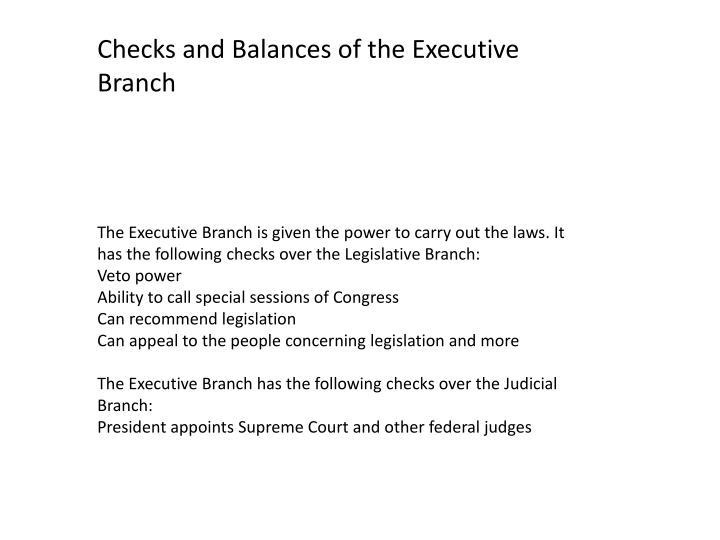 Checks and Balances of the Executive Branch