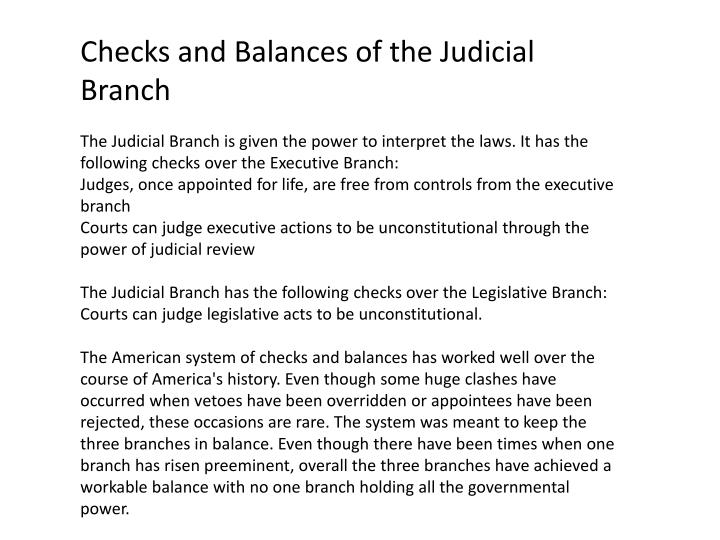 Checks and Balances of the Judicial Branch