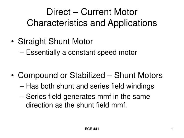 direct current motor characteristics and applications n.