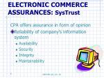 electronic commerce assurances systrust