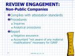 review engagement non public companies