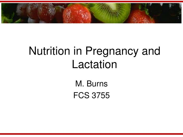 nutrition in pregnancy and lactation n.